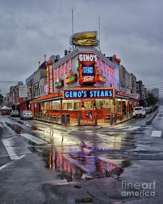 Geno's Steaks - Best Philly Cheese steaks ever!   South 9th Street, Philadelphia, Pennsylvania.  Go to www.YourTravelVideos.com or just click on photo for home videos and much more on sites like this.
