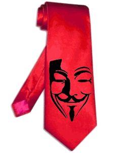 mask V for vendetta necktie RED satin silk tie