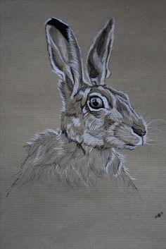 Portrait de lièvre  Artiste Animalier La Galerie de Julie