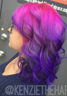 pink purple ombre dyed hair color @kenziethehappyfairy