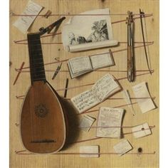 Artwork by Cornelis Norbertus Gijsbrecht, Trompe-L'oeil still life with a lute and rebec, music sheets, a print and other objects, Made of oil on canvas