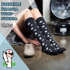 Näiden tähdekkäiden ja mukavien tukisukkien kompressio on 15-21 mmHg, jolloin ne sopivat kaikille, jotka haluavat ennaltaehkäistä jalkojen väsymystä, suonikohjujen ja veritulppien syntymistä sekä parantaa verenkiertoa. Socks, Fashion, Moda, Fashion Styles, Sock, Stockings, Fashion Illustrations, Ankle Socks, Hosiery