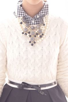 gingham collar. cable sweater. statement necklace. east coast chic.