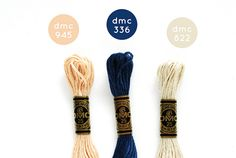 {Royal Neutrals} DMC Floss Color Combination 945: Tawny; 336: Navy Blue; 822: Light Beige Grey