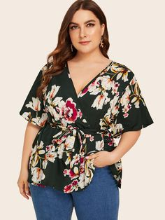 Plus Surplice Front Floral Print Belted Blouse Plus Size Winter Outfits, Plus Size Fashion For Women, Plus Size Outfits, Plus Size Women, Plus Size Skirts, Plus Size Blouses, Plus Size Tops, Curvy Girl Fashion, Boho Fashion