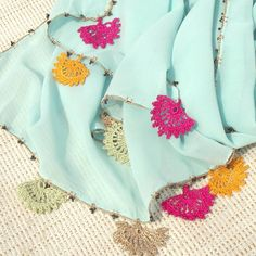 Turkish OYA Lace - Chiffon stole - Pale blue by DaisyCappadocia on Etsy