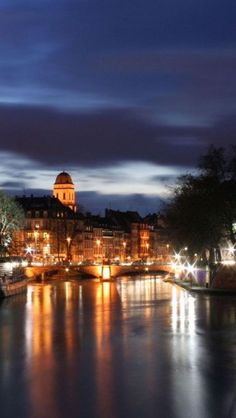 Strasbourg at Night, France - beautiful from the Rhine River!