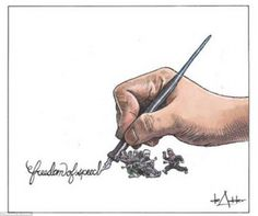 Freedom of speech: This drawing by Michael de Adder, a Canadian cartoonist, shows a group of people trying to stop an illistrator's hand