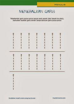 lembar berlatih menggambar anak balita/TK, menebalkan garis, memegang pensil