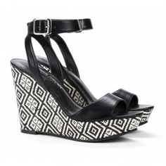 Adrienne platform wedge in black by sole society