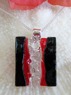 Transparent red and opaque black fused glass by FoxWorksStudio, $30.00