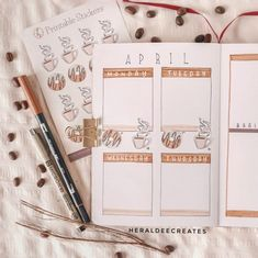 Coffee Theme Bullet Journal Set-up | Heraldeecreates Bullet Journal Tracker, Bullet Journal Set Up, Bullet Journal Cover Page, Bullet Journal Aesthetic, Bullet Journal Ideas Pages, Bullet Journal Layout, Bullet Journals, Art Journals, Journal Stickers