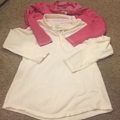 lot of 2!!!! Cowl neck pull overs 2 cowl neck with drawstring. Pulls over the head. Both size large. 1 is off-white and other is pink both NWT Hanes Tops Sweatshirts & Hoodies