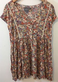 075645762d3 Anthropologie Vanessa Virginia Womens Large Ladder Lace Floral Tunic Boho  Hippie