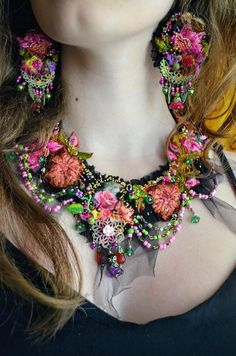 Bohemian statement necklace bold necklace romantic fairy gypsy
