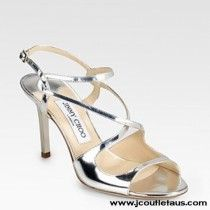 New Jimmy Choo Paxton Mirrored Leather Sandals Sliver AXZA