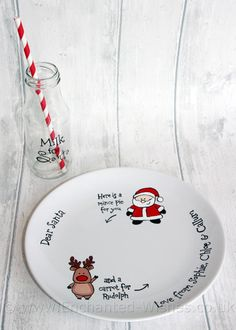 Personalised Christmas Eve Santa Plate and by EnchantedWishesUK