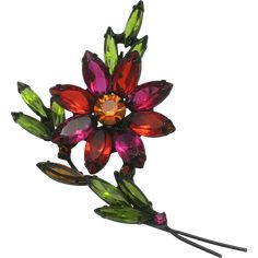 Bold and colorful Flower pin Pink Rhinestones Green leaf