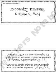 Numerical Expressions Worksheet (OA.2)