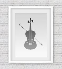 Violin Wall Art Orchestra Art Black Violin by ThinkAboutDigitalArt