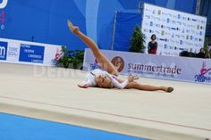Anastasiia Mulmina (UKR) performing the ball routine during the FIG Rhythmic Gymnastic World Cup series Pesaro 2014.