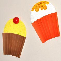 3D Cupcake Wall Decor | AllFreeKidsCrafts.com Cute for little girls room. Looks easy to make