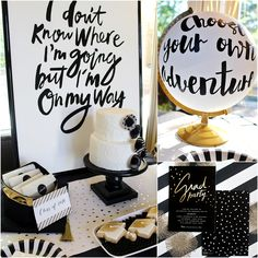 Love this amazing black and white Grad party decor! - See more graduation Party ideas on B. Lovely Events Informations About Newest Graduation Party Ideas That We Love! Lovely Events Pin You can Graduation Caps, Graduation Open Houses, College Graduation Parties, Graduation Party Decor, Grad Parties, Graduation Ideas, Graduation Motto, Retirement Parties, Theme Parties