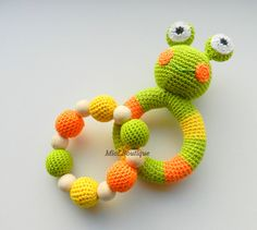 Frog Baby Toy Rattle Baby teether Set of 2 from MioLBoutique by DaWanda.com