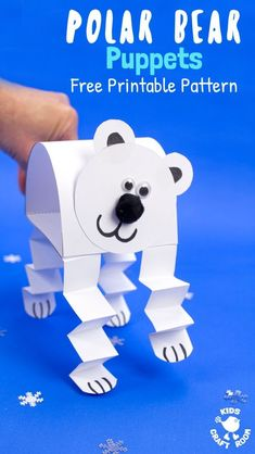 How adorable is this Polar Bear Puppet Craft! This polar bear craft is made from just one sheet of paper! Print the free pattern, cut, stick and play! What a fun Winter craft for kids! #polarbear #polarbears #winter #wintercrafts #kidscrafts #puppets #kidscraftroom #polarbearcrafts via @KidsCraftRoom