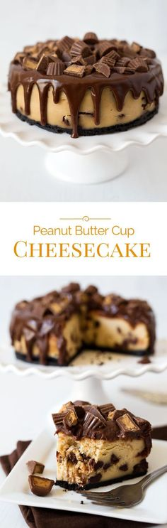 A super smooth, rich, and creamy Pressure Cooker Peanut Butter Cup Cheesecake dripping with chocolate ganache and crowned with chopped peanut butter cups.