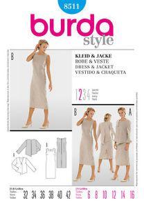 Burda Ladies Sewing Pattern 8511 - Dress & Jacket Sizes: 6-16