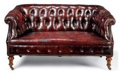 Walnut and leather chesterfield sofa, English, late 19th century - Victorian invention of deep-buttoned upholstery/ springing | Christies | VICTORIAN