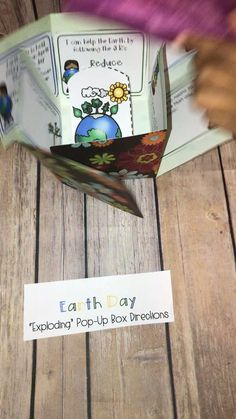 "Earth Day Activities and Craft for Kids ""Exploding Box"", Book Report Projects, Book Projects, Science Projects, School Projects, Projects To Try, Earth Day Activities, Fun Activities, Art For Kids, Crafts For Kids"
