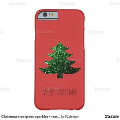Christmas tree green sparkles text Red iPhone 6 Barely There iPhone 6... ($45) ❤ liked on Polyvore featuring accessories and tech accessories