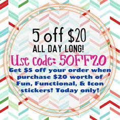 Get $5 off your order when purchase $20 worth of Fun Functional & Icons stickers! Today only! Use code: 5OFF20 Does NOT include Weekly Kits or Samplers. Orders will be CANCELED if you do. :) #xoxoprints #stickersale #etsyseller #etsyshop #etsystickers by xoxoprints