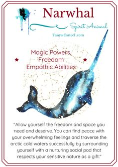 Narwhal spirit animal symbolism and watercolor paintings by Tanya Casteel Spirit Animal Totem, Animal Spirit Guides, Your Spirit Animal, Animal Totems, Spirit Animal Tattoo, Animal Meanings, Animal Symbolism, Doreen Virtue, Spiritual Animal