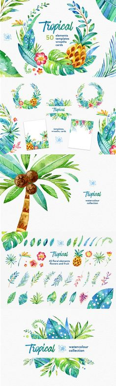 Tropical. Watercolour collection. Printables. $15.00