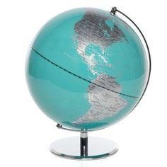 CORINNE/BOOKSHELF OR DESK/AQUA GLOBE/$79.95/QTY: 1/ZGALLERIE/ World Globe - Aquamarine from Z Gallerie