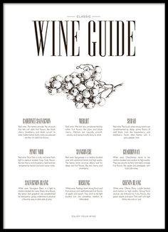 Een stijlvolle keuken poster met tekst Wine guide en verschillende wijnsoorten. Een erg leuk motief voor de keuken dat bovendien goed past bij veel van onze andere posters in soortgelijke stijl. www.desenio.nl
