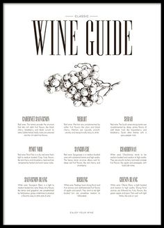 A kitchen poster with clean design and the text, 'Wine guide, and different types of wine'. A very nice design for the kitchen which also looks good with many other posters in the same style. Take a look at our inspiration page where we have a lot of inspiration and tips if you want to combine designs in a collage. www.desenio.com