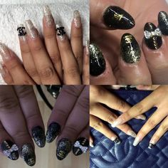 builded gel and acrylic nails, chanel design , black, silver, gold,