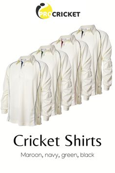 A long sleeved white cricket shirt with navy blue piping and trim White Long Sleeve, Long Sleeve Tops, Long Sleeve Shirts, Cricket Whites, Sportswear, Navy Blue, Coat, Jackets, Clothes