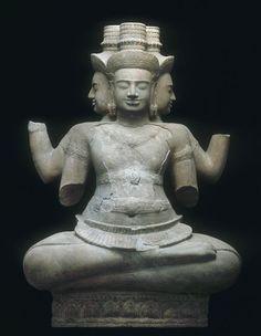 Brahma deuxième quart du 10e siècle style de Koh Ker (925-950) grès, sculpture Cambodge, temple Vat Baset