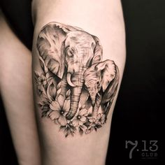 elephant family tattoo by @ira_deer