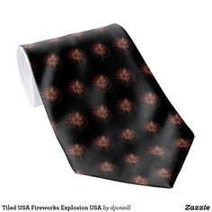 Tiled USA Fireworks Explosion USA Tie. It doesn't have to be the 4th of July to celebrate our freedom. This is an actual photo of an Independence Day firework going off. Make an explosive fashion statement! haha. High quality tie for Chinese New Year or New Years or  Christmas Eve in Guatemala, or anytime really.