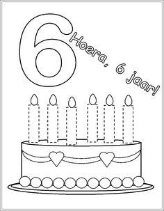 taart kleurplaat met 5-6 kaarsen - Google zoeken
