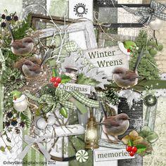 Digital Scrapbook Kit  Winter Wrens  Christmas  by cheyOkota
