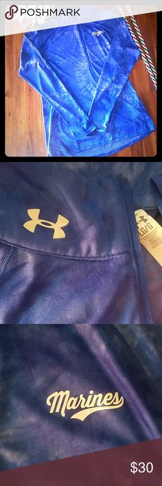 """Under Amour MARINES 3/4 zip pullover Practically new Under Amour Marines 3/4 zip pullover, blue tie dye """"ish"""" print. Under Armour Tops Tees - Long Sleeve"""