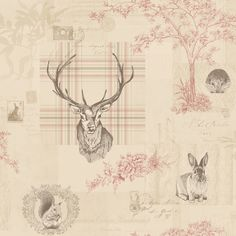 Richmond by Albany - Cranberry / Linen - Wallpaper : Wallpaper Direct Stag Wallpaper, Tartan Wallpaper, Charcoal Wallpaper, Linen Wallpaper, Animal Print Wallpaper, Shabby Chic Wallpaper, Feature Wallpaper, Perfect Wallpaper, Paper Wallpaper