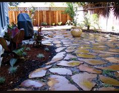 recycled concrete stained - another side yard idea! Not in this pattern, but concrete idea.